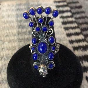 Lapis peacock ring